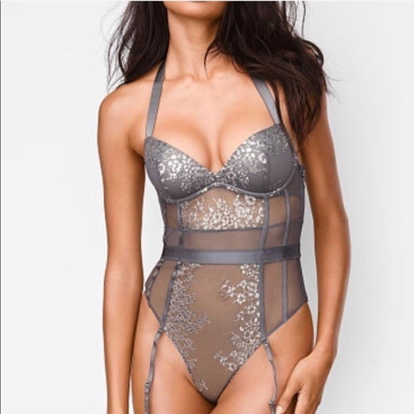 Metallic Scalloped Stretch Lace Teddy