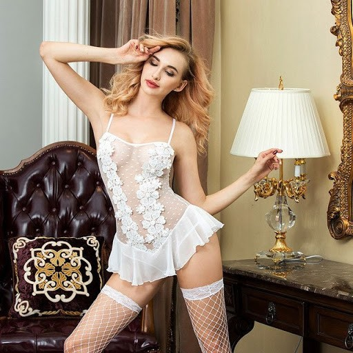 Womens V Neck Lace Babydoll